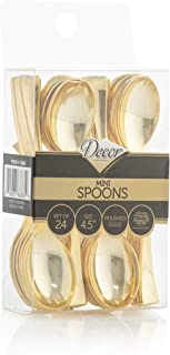 Disposable Plastic Mini Spoons, Gold Plastic Tasting Spoons, 72 Count, 4 inch Spoons, Great for Desserts, Sampling, or Appetizers - Posh Setting