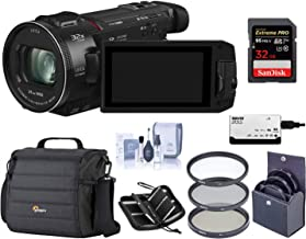 Panasonic HC-WXF1K 4K UHD Camcorder, 24x Leica Dicomar Lens, Bundle with Video Bag + 62mm Filter Kit + 32GB SDHC Card + Cleaning Kit + Memory Wallet + Multi Card Reader