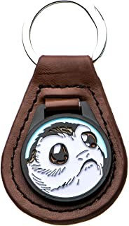Unisex Adult Base Metal Episode 8 PORG Leather Key Chain, Brown/Silver, One Size