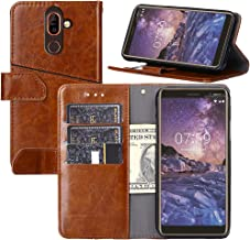 Nokia 7 Plus Case, YEEGG Flip Cover Leather, Phone Wallet Case for Nokia 7 Plus (5.3 inch) -Brown