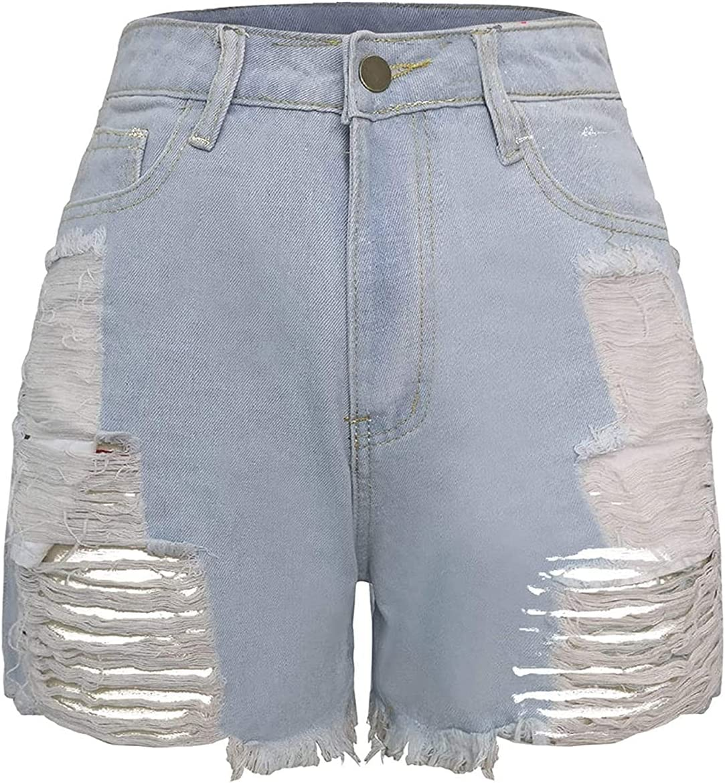 Sexy Summer Denim Shorts for Women Broken Hole Denim High Waisted Shorts Rolled Raw Hem Distressed Ripped Short Jeans (Light Blue,36)