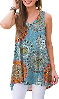 AWULIFFAN Women's Summer Sleeveless V-Neck T-Shirt Tunic...
