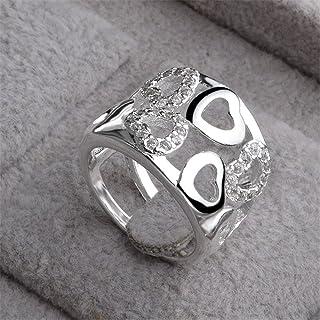 comprar comparacion skyllc® Anillo de Diamante Plateado Plateado Plata cristalina Adorable del Diamante del Rhinestone