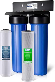 "iSpring WGB22B-PB 2-Stage Whole House Water Filtration System w/ 20"" x 4.5"" Big Blue Carbon Block and Lead & Iron Reducing Filters"