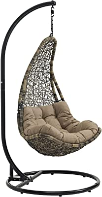 Modway Abate Wicker Rattan Outdoor Patio Porch Lounge Swing Chair Set with Stand in Black Mocha