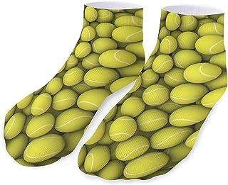 Cute Funny Yellow Tennis Balls Athletic Socks,Casual Running Sport Hockey Cushioned Crew Low Cut Socks for Men Women