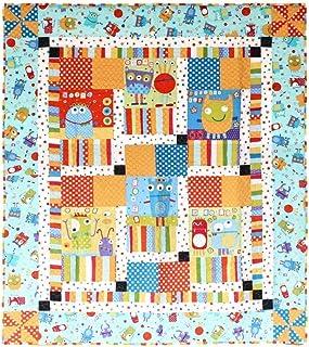 Blue Silly Monster Handmade Patchwork Quilt