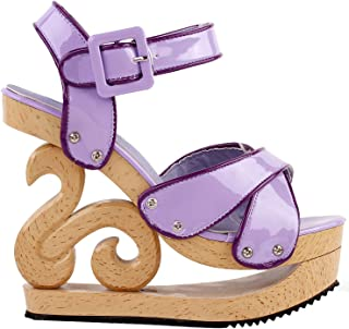 Show Story Purple Two Tone Woven Effect Buckle Slingback Wooden Look Wedges Platform Clogs Sandals,LF30839