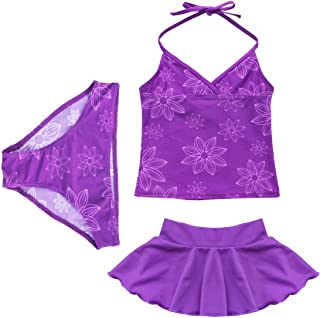 YONGHS Kids Girls 3PCS Tankini Swimsuit Adjustable Halter Swimwear Bathing Suit Tops with Bottoms Skirts Set