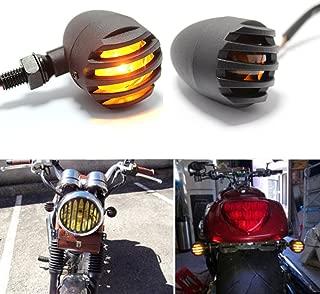 12V Motorcycle Amber Grill Bullet Blinker Turn Signal Light Indicator Lamps For Bobber Chopper Cruiser