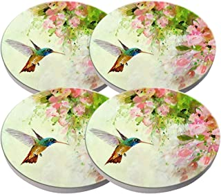 KristiPeterson Lovely Hummingbird and Pink Flowers Oil Painting Art Custom Fashion Personalized Exquisite Ceramic Coasters 4 Pieces Sets Of Christmas Gifts