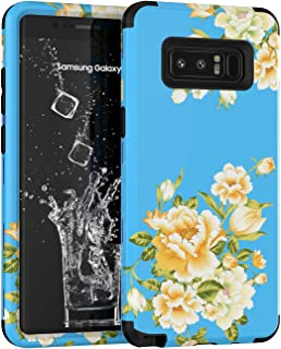 Galaxy Note 8 Case, Yoomer 3in1 Unique Cute Flower Design Shockproof Hybrid Armor High Impact Defender Cover Silicone Rubber Hard Back Cover Combo Bumper Protective Case for Samsung Galaxy Note 8
