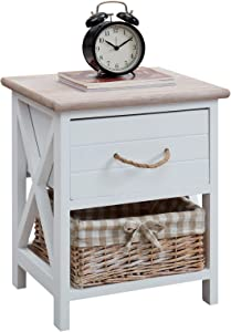 IDIMEX Table de Chevet Perugia Table de Nuit 1 tiroir et 1 Panier en Bois de Paulownia Style Shabby Chic Vintage Rustique campagnard Blanc