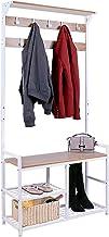 HOMEKOKO Coat Rack Shoe Bench, Hall Tree Entryway Storage Bench, Wood Look Accent Furniture with Metal Frame, 3-in-1 Desig...