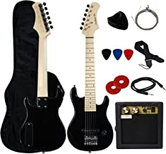 """YMC 30"""" Kids Electric Guitar Pack With 5-Watt Amp, Gig Bag,Strap,Cable,Strings,Picks,and Wrench,Guitar Combo Accessory Kit-Black"""
