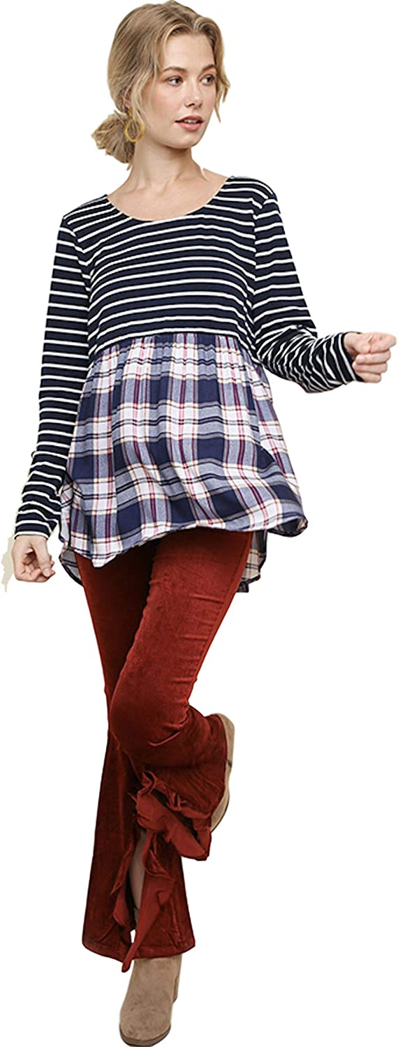 Umgee Women's Striped and Plaid Long Sleeve Babydoll Top with a Scoop Tulip Hem