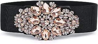 LUKEEXIN Women Crystal Drill Waist Belt Decorative Flower Wide Belt Decorative Rubber Band Lady Style (Color : Pink)
