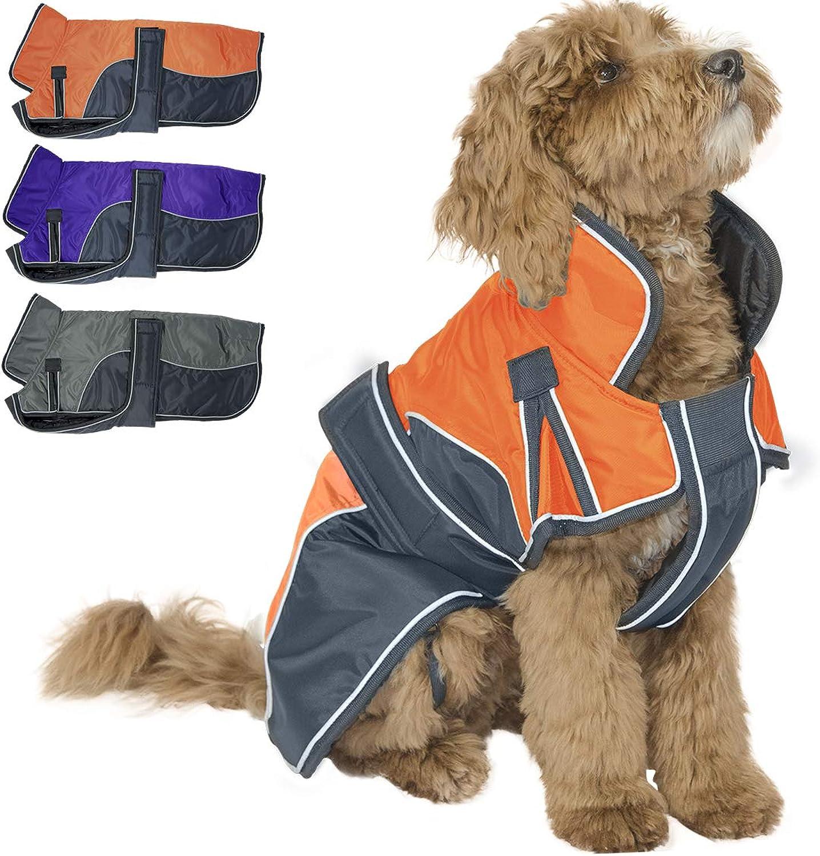 Derby Originals Reflective Parka 420D Waterproof Heavy Weight 220g Polyfil Winter Dog Coat (Medium, orange Charcoal)