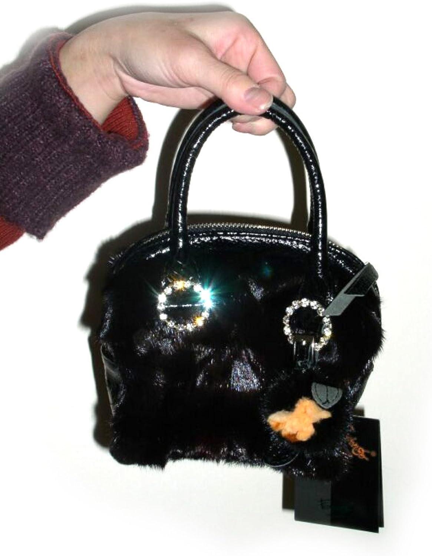 FursNewYork Ranch Mink Mini Evening Bag w Crystal Rings