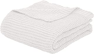 AmazonBasics Knitted Chenille Throw Blanket - 60 x 80 Inches, White