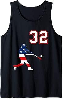 Baseball player number 32 with American USA flag Tank Top