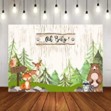 Christmas Woodland Baby Shower Backdrop Watercolor Pine Trees Jungle Animals Theme Photography Background Winter Forest Newborn Baby 1st Birthday Party Decorations for Kids Photo Booth Props