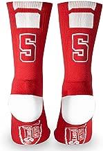 Custom Team Number Crew Socks   Athletic Socks by ChalkTalkSPORTS   Red   Choose Your Number