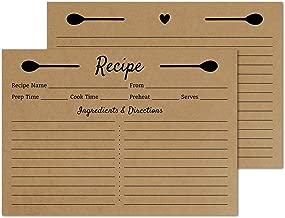 Kraft Recipe Cards 4x6 Double Sided - Set of 50 Recipe Cards - Wedding, Bridal Shower, Christmas, Holiday