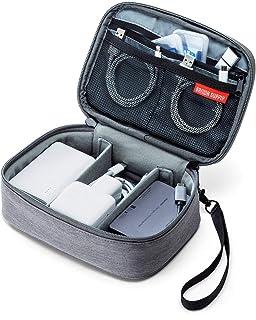 サンワダイレクト トラベルポーチ ガジェットポーチ 間仕切付き 旅行 出張 便利グッズ マウス ケーブル モバイルバッテリー 収納ポーチ グレー 200-BAGIN018GY