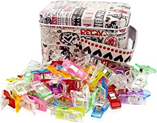 Sewing Clips Multicolor for Sewing Craft Clamps, Crafting, Crochet and Knitting, All Purpose Clips for Quilting Binding Clips, Fabric Clips, Paper Clips, Blinder Clips. Tin Box Package (100 PCS)