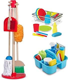 Dust Sweep Mop, Spray Squirt Squeegee, Wash and Dry Dish Set Pretend Play Cleaning by Melissa and Doug