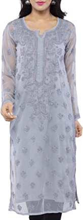 ADA Hand Embroidered Casual Wear Chikan Kurti Kurtas for Women Grey Georgette A130748