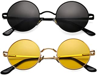 نظارات شمسية مستقطبة مستديرة صغيرة الشكل من جون لينون للنساء، بإطار معدني ريترو دائرة هيبي نظارات شمسية