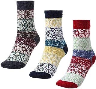 IYOU, Calcetines étnicos de lana cálidos rojos, calcetines largos, supersuaves, informales, al aire libre, senderismo, calcetines de lana para mujeres y hombres (3 pares)