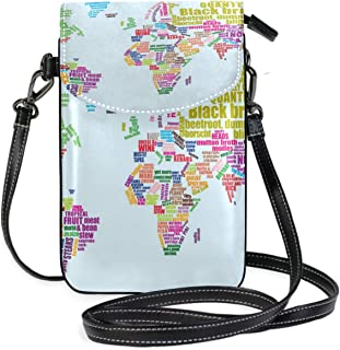 LORONA Food Map Unique Maps Cell Phone Purse Wallet for Women Girl Small Crossbody Purse Bags
