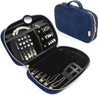 リング、ネックレス、ブレスレット、イヤリング、青のためのVemingoトラベルジュエリーオーガナイザーケースポータブルジュエリーバッグ