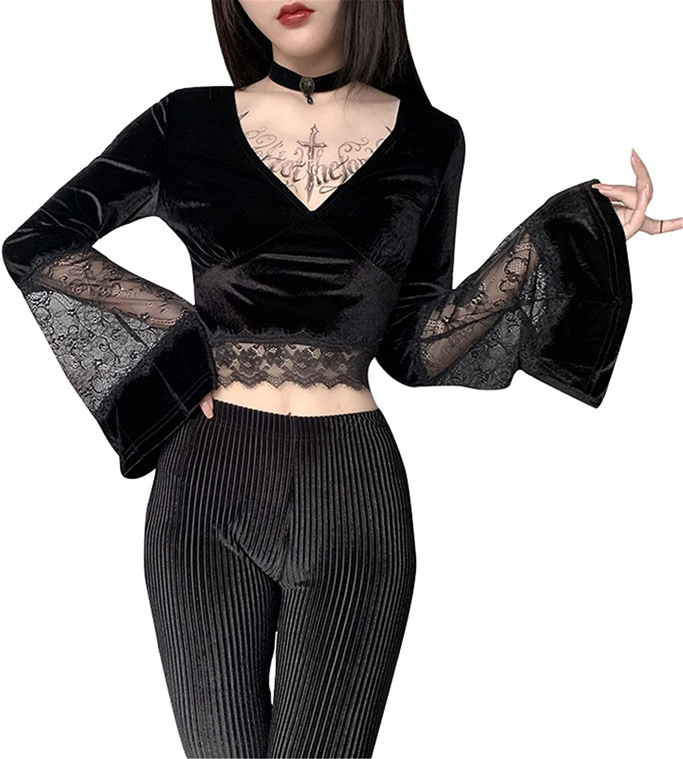Crop Tops for Women Max 75% OFF Sexy Long Neck Gothic Nashville-Davidson Mall Sleeve Vintage V Retro