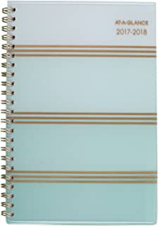 """at-A-Glance Academic Weekly/Monthly Planner, July 2017 - June 2018, 4-7/8"""" x 8"""", Ombre, Mint (1026-200A)"""