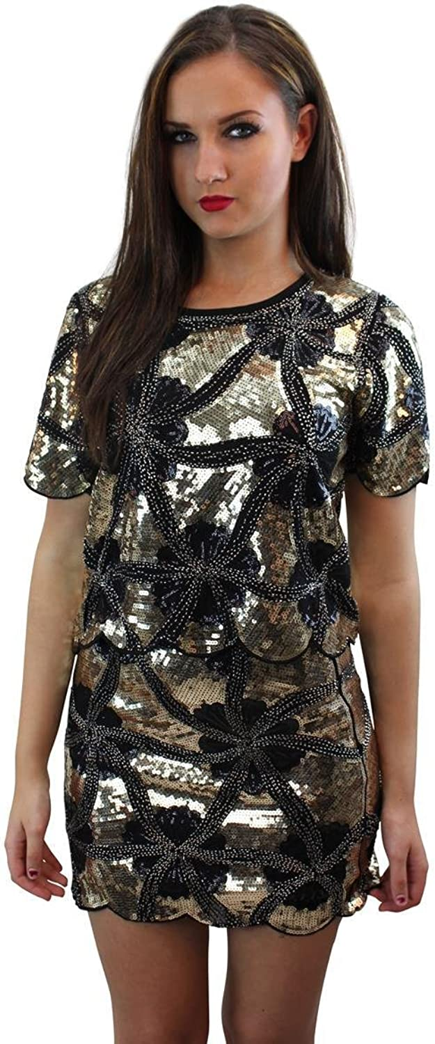 Girl Talk Clothing Black and gold Sequin Embellished Scalloped CoOrd