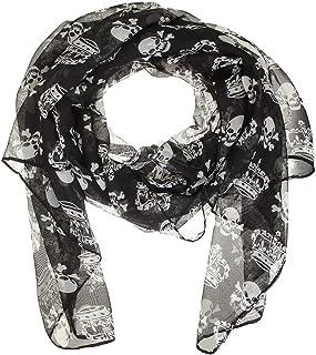 styleBREAKER sciarpa con applique di strass donna 01017061 borchie frange foulard teschi skull