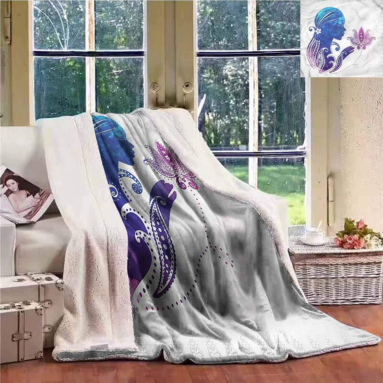 Sunnyhome Throw Blanket Teen Girls Lady with Floral Hair Autumn and Winter Thick Blanket W59x31L