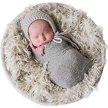 WINOMO Baby Photo Props Newborn DIY Photography Soft Fur Quilt Photographic Mat Khaki SG/_B06WRXL2VF/_US