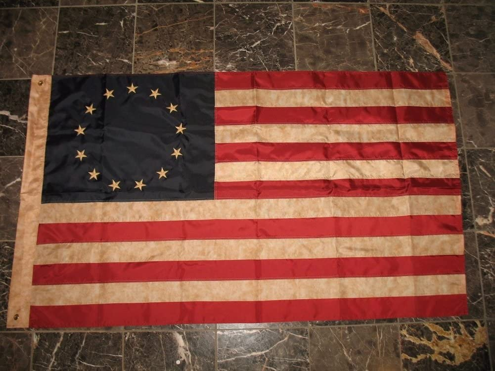 3x5 Embroidered Nylon Tea Stained Sale special price Ross Sle Betsy Seattle Mall Historical Flag