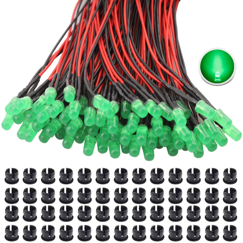 RUNCCI-YUN 65Pcs 5mm Luces LED de Diodo 12V DC Pre Wired LED Diodos Emisores de Luz Lámpara+ 65Pcs 5mm Plástico Soporte de LED Clip Montaje para DIY Coche Barco Juguetes Partes (verde)