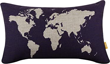 LINKWELL 18 x 11 World Map Burlap Pillow Cases Cushion Covers