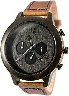Mens Minimalist Dark Face Multi-Function Chronograph Round Wooden Watch with Premium Leather Band