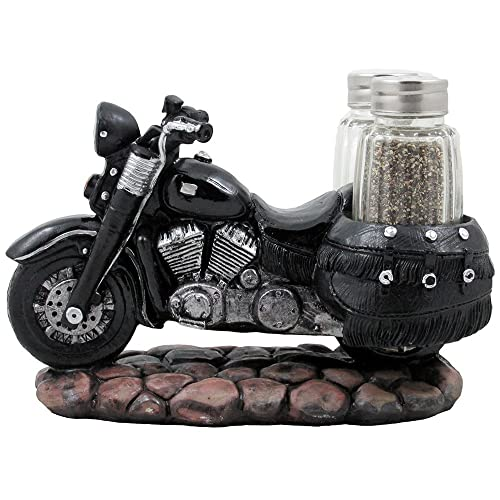 Classic Motorcycle Glass Salt And Pepper Shaker Set With Decorative Retro Road Hog Display Holder As