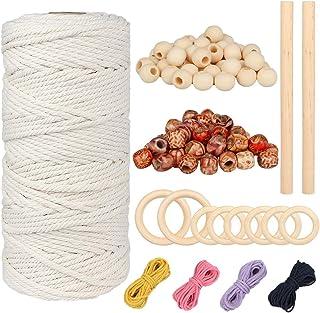 DIAOCARE Baumwolle Garn,3mm x 100m Makramee Baumwolle mit 100 stück Holzperlen, 2 Holzstäbchen,6 Holzringe,4 Farben von 5m Baumwollseil für DIY Handwerk Basteln,Makramee Blumenampe