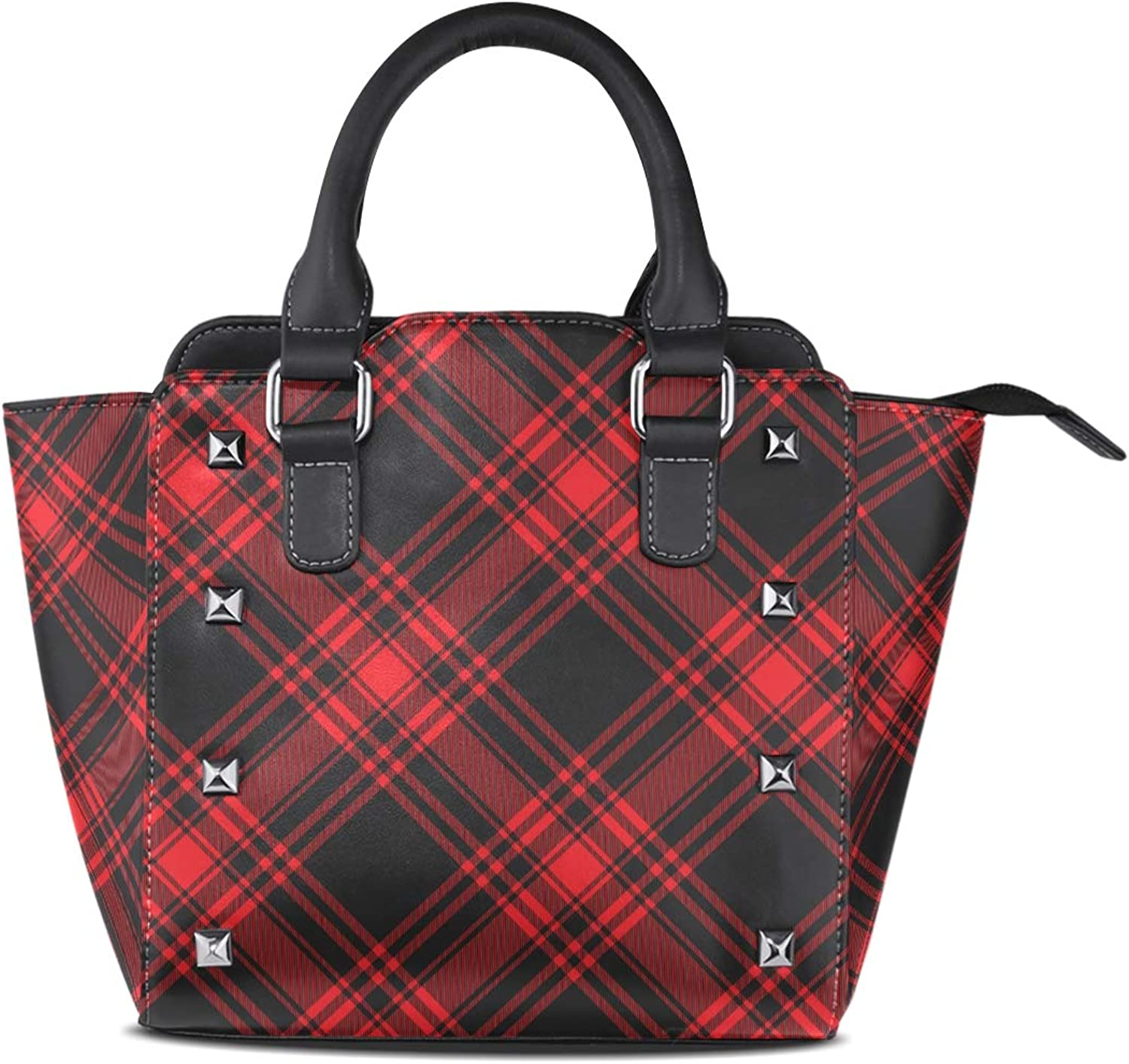 My Little Nest Women's Top Handle Satchel Handbag Black Red Tartan Pattern Ladies PU Leather Shoulder Bag Crossbody Bag