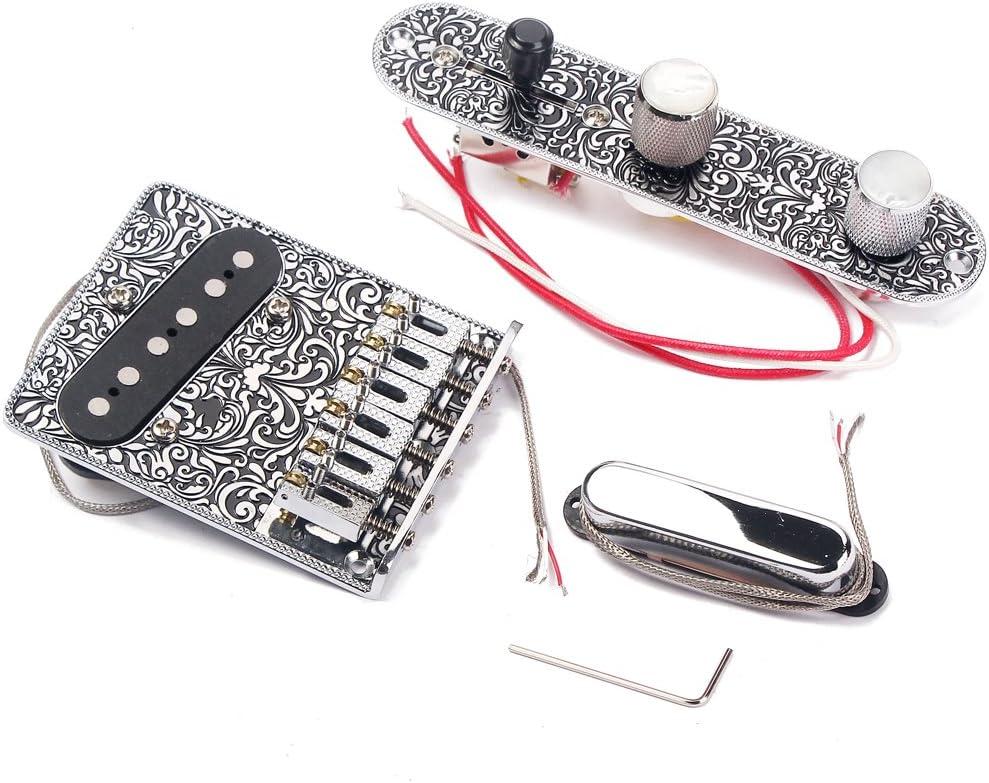 JIUYECAO Kit de línea de recogida de puente Chrome, tablero de puente de 6 cuerdas, placa de control de interruptor de 3 vías, juego de recogida de cuello para guitarras eléctricas Telecaster